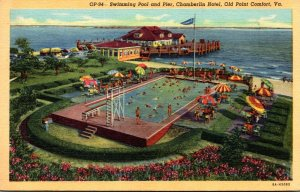 Virginia Old Point Comfort Chamberlin Hotel Swimming Pool and Pier 1949 Curteich