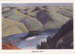 Painting  of Canadian Steamship On the Saguenay River, Quebec, Canada, 50-70´s