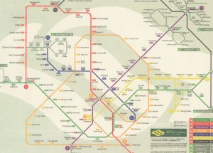 Singapore Train Map Underground Subway Postcard