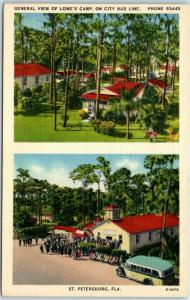 St Petersburg, Florida Postcard LOWE'S CAMP GROUNDS & Cottages Roadside Linen