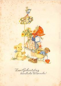 BG8933 girl toy flower  geburtstag birthday greetings germany