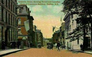 Canada Granville Street showing Herald Bank Commerce Building Halifax Postcard
