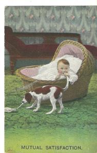 1910 Mutual Satisfaction ~ Baby & Dog ~ Bamforth and Co.