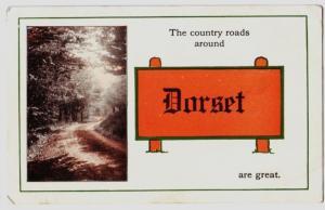 1914 DORSET Ohio Postcard Pennant Ashtabula County