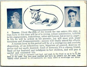 1920s ARCADE CARD Mutoscope Taurus ASTROLOGY HOROSCOPE Romance Comic Unused