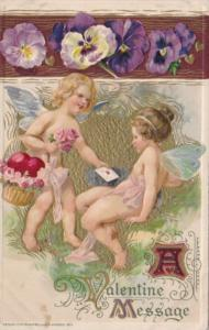 Valentine's Day With Young Angels With Butterfly Wings 1911 Winsch