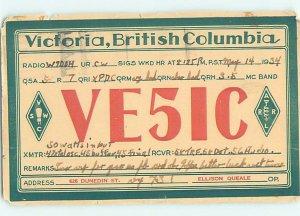 1930s QSL RADIO CARD Victoria - Vancouver Island British Columbia BC AH3277