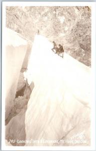 Mount Hood, Oregon RPPC Postcard Looking into a Crevasse GRIFFORD Photo c1930s