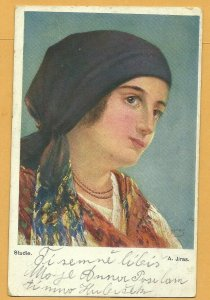 AS: Art Nouveau, Woman with bandana on her head, soft smile, Studie, A. JIRAS