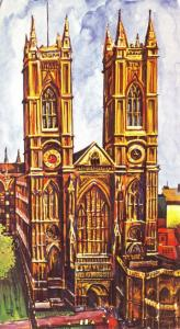 Large Format Die-Cut London Art Postcard, Westminster Abbey NEW