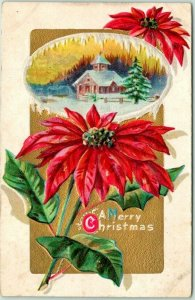 Vintage 1911 CHRISTMAS Greetings Postcard Church Scene / Poinsettia Flower