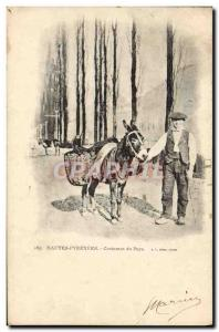 Old Postcard Folklore Hautes Pyrenees country Costumes Donkey Mule