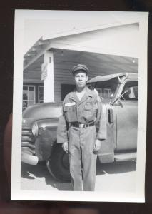 REAL PHOTO PHOTOGRAPH 1950's TRUCK WARRENSBURG MISSOURI GAS STATION SOLDIER
