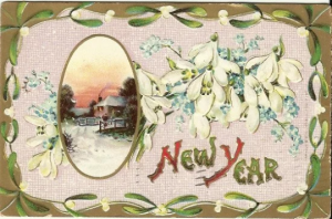 New Year Winter Scene Cabin Chimney Smoke Snowdrop Flowers Forget me Nots