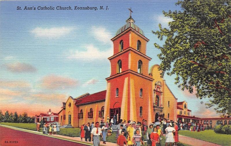 Keansburg New Jersey~St Ann's Catholic Church~Congregants Entering Bldg~1939 PC