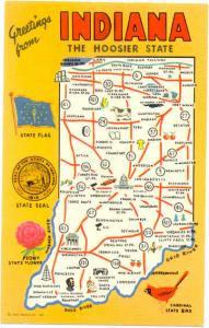 Greetings from Indiana, The Hoosier state, Map Card, Chrome