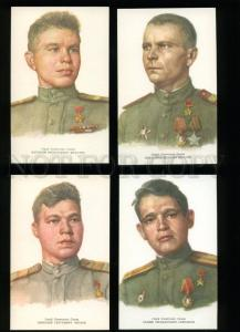 136552 WWII Komsomol Heroes Collection of 16 russian postcards