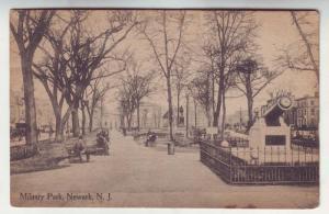 P124 JLs 1913 postcard newark nj military park people cannon