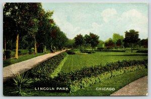 Chicago Illinois~Lincoln Park Pathways~Lush Green Lawn~Garden Flowers~c1910