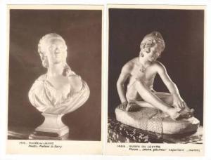 RP  Musee du Louvre, Rude - Jeune pecheur napolitain-(marbe) & Pajou - Madame...