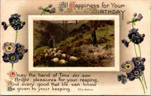 ALL HAPPINESS FOR YOUR BIRTHDAY - FARM NATURE SCENE - VINTAGE POSTCARD - 1910