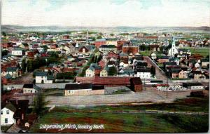 Ishpeming Michigan~Birdseye Panorama~Lumber Yard~Homes~Church~1908 Postcard