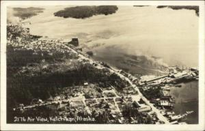 Ketchikan AK Aerial View #2176 c1950 Real Photo Postcard