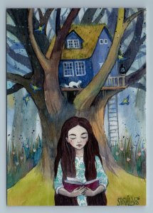 LITTLE GIRL with Long Hair read Book Tree house Weasel Bird Russian New Postcard