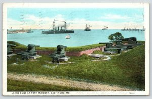 Baltimore Maryland~Large Guns @ Fort McHenry~Cannon Point at Harbor Ships~1932