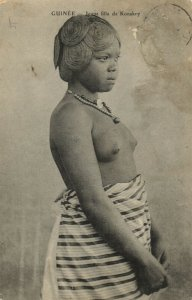 PC CPA ETHNIC NUDE YOUNG FEMALE KONAKRY TYPE, GUINEA (b5318)