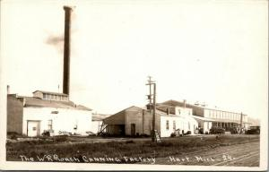 Hart MI~Railroad Tracks by W R Roach Canning Factory~Super Smokestack~RPPC 1920s