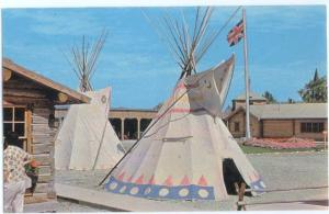 View of Indian Teepees inside Fort Macleod Replica, Alberta