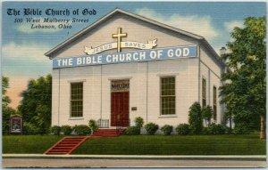 Lebanon, Ohio Postcard THE BIBLE CHURCH OF GOD Building Tichnor Linen c1940s