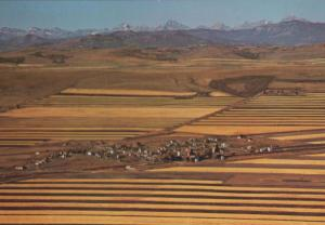 Alta Foothills Strip Farming Birds Eye Aerial Canada Canadian Postcard
