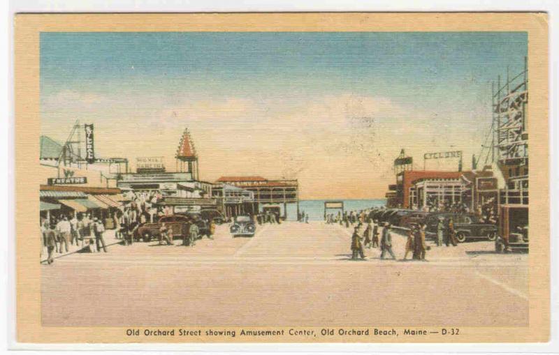 Street Scene Old Orchard Beach Maine linen postcard