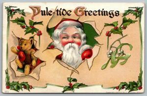 Christmas~Santa & Steiff Bear Breaks Thru Parchment~Holly Berry~Mistletoe~Emboss