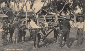 Indonesia Karbouwen Wedren Water buffalo ethnic Postcard
