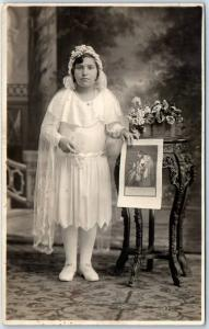 Vintage RPPC Real Photo Postcard COMMUNION Girl White Dress Rosary Beads c1930s