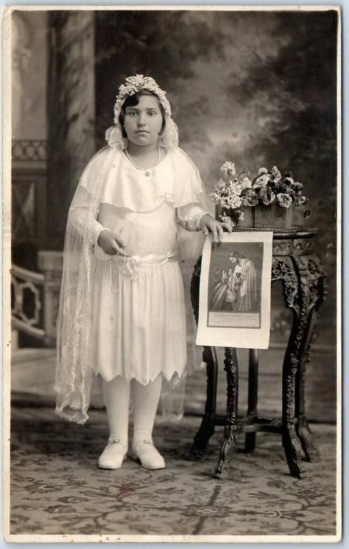 Vintage RPPC Real Photo Postcard COMMUNION Girl White Dress Rosary Beads c1930s