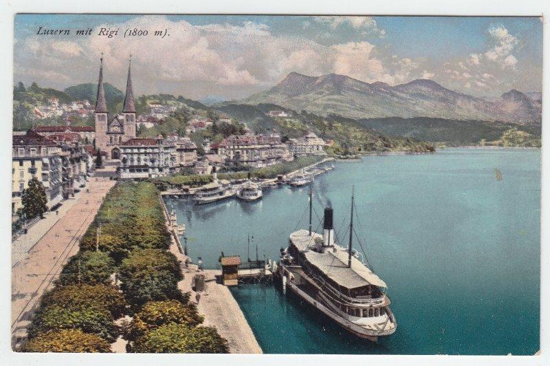 P1975 old postcard birds eye view ship harbor luzern mit rigi switzerland unused