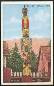 AK Ketchikan Totem Pole of Thlinget Chief Kian Alaska Vntg Postcard HH Tammen Co