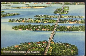 32520) Florida BISCAYNE BAY Aerial View Venetian Islands - Linen