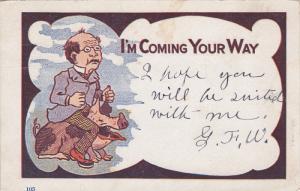 Man riding a pig, I'm coming your way, PU-1907