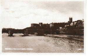 postcard Cheshire THE RIVER DEE AND CASTLE, CHESTER unused
