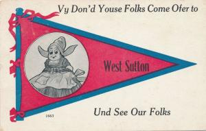 Dutch Girl Pennant Card West Sutton Worcester County MA Massachusetts pm 1913 DB