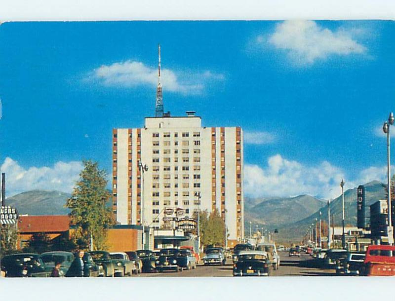 1950's OLD CARS BY SHOPS ON STREET & MCKINLEY APT BUILDING Anchorage AK c3188