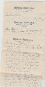 LETTERHEAD HABANA CUBA HOTEL SEVILLA - BELMONT NY NEW YORK CITY NYC