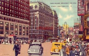 TIMES SQUARE, BROADWAY & 43rd ST. NEW YORK CITY, NY the GREAT WHITE WAY 1943