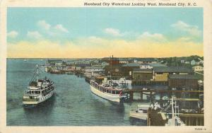1930s Moorehead City North Carolina Postcard Waterfront Rose's Teich 12277