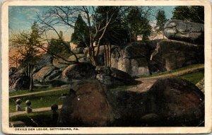 Postcard Devil's Den Ledge Gettysburg Pennsylvania 1920 Civil War Natural 1256
